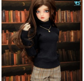 Black Turtleneck Sweater & Plaid Shorts Set